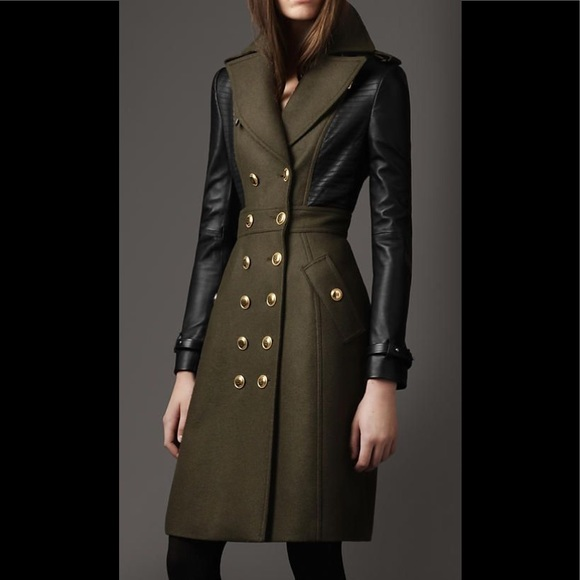 Burberry London wool leather sleeve tailored coat